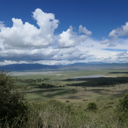Driving out of Ngorongoro Crater